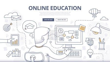 Illustration pour Doodle concept de style de conception de l'éducation en ligne, enseignement à distance, recyclage. Concepts modernes pour bannières web, tutoriels en ligne, matériel imprimé et promotionnel - image libre de droit