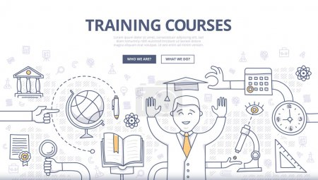 Photo for Doodle design style concept of global education, training courses, obtaining specialty, university graduation, building career. Modern concepts for web banners, online tutorials, printed and promotional materials - Royalty Free Image