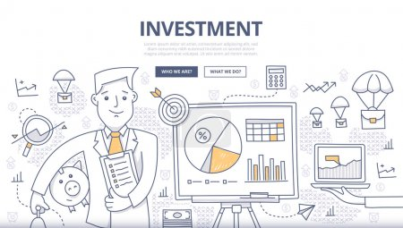 Illustration for Doodle design style concept of making investments, crowd funding, growing business profit, building effective financial strategy. Modern concepts for web banners, online tutorials, printed and promotional materials - Royalty Free Image