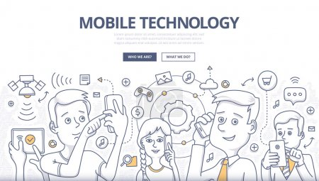 Illustration for People share digital information with mobile devices. Doodle design style concept of mobile technology, wireless communication. Modern line style illustration for web banners, hero images, printed materials - Royalty Free Image