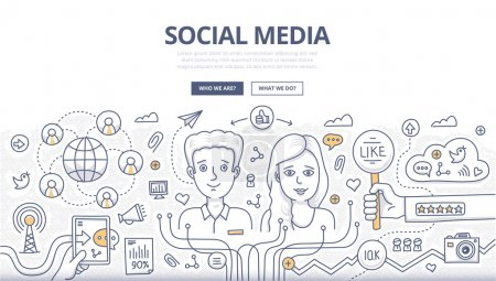 Illustration for Doodle design style concept of social media technology, sharing information online, increasing social profile followers. Modern line style illustration for web banners, hero images, printed materials - Royalty Free Image