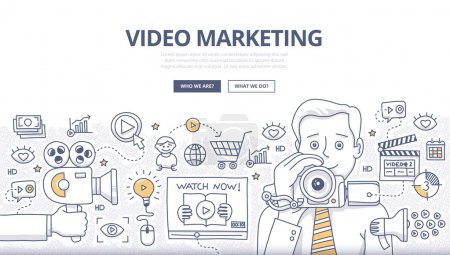 Illustration for Doodle design style concept of video marketing strategy, product overview, creating explainer video to increase sales. Modern line style illustration for web banners, hero images, printed materials - Royalty Free Image