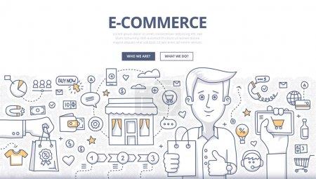 Illustration pour Concept de style de conception Doodle de ventes e-commerce, achats en ligne, marketing numérique et expérience d'achat à la clientèle. Illustration de style ligne moderne pour bannières web, images héros, matériaux imprimés - image libre de droit