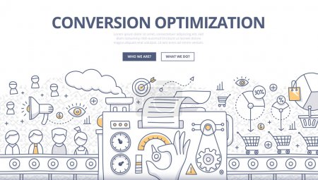 Illustration for Doodle design style concept of conversions marketing, customer management, SEO technology of converting leads into sales. Modern line style illustration for web banners, hero images, printed materials - Royalty Free Image