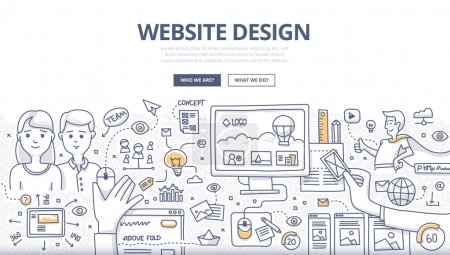 Illustration for Doodle design style concept of layout web design, creativity in building web page, website development technology.  Modern line style illustration for web banners, hero images, printed materials - Royalty Free Image