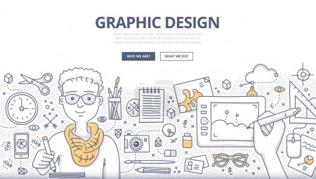 Illustration for Doodle design style concept of graphic designer at work, surrounded with tools and equipment. Designer uses inspiration and imagination to create things. Modern line style illustration for web banners, hero images, printed materials - Royalty Free Image