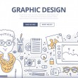 Doodle design style concept of graphic designer at...