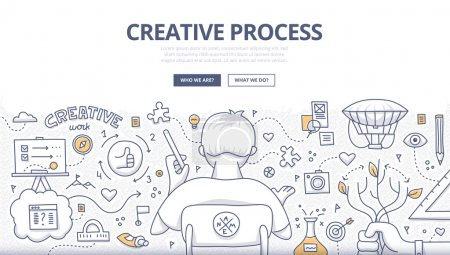 Illustration for Doodle design style concept of creativity, imagination and design thinking. Modern linear style illustration for web banners, hero images, printed materials - Royalty Free Image