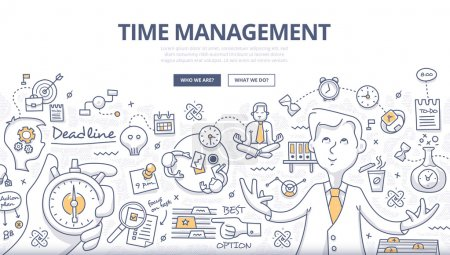 Illustration for Doodle design style concept of effective businessman who plans and organizes working time, deals deadlines, achieves goals. Modern line style illustration for web banners, hero images, printed materials - Royalty Free Image