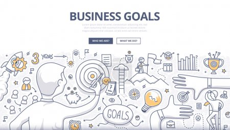 Illustration for Doodle design style concept of setting and achieving business goals, strategy building, opportunities in business. Modern line style illustration for web banners, hero images, printed materials - Royalty Free Image