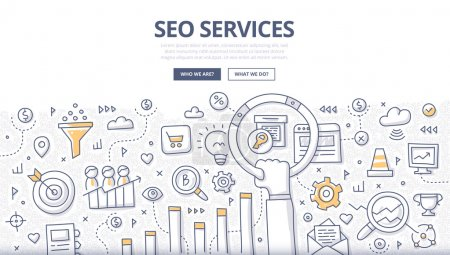 Illustration for Doodle design style concept of SEO optimization, web marketing, web technologies. Modern line style illustration for landing hero images, web banners, printed materials - Royalty Free Image