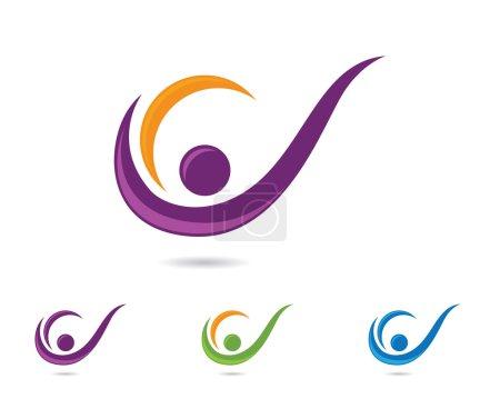 Illustration pour Des gens amusants conception de logo sain - image libre de droit
