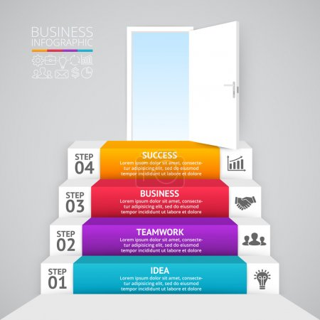 Vector 3d arrows infographic. Template for diagram, graph, presentation and chart. Business startup concept with 4 options, parts, steps or processes. Abstract background. Data visualization.