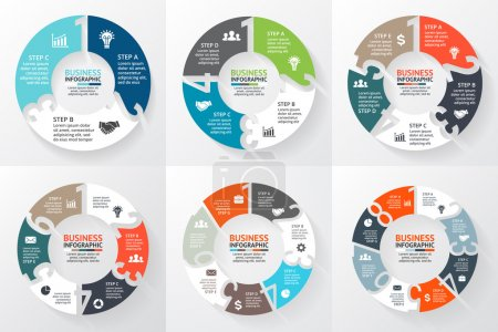 Vector circle arrows numbers 1, 2, 3, 4, 5, 6, 7, 8 infographic, diagram, graph, presentation, chart. Business cycle concept with options, parts, steps, processes. Info graphic data template.