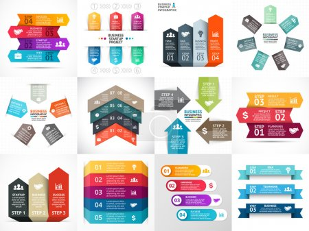 Vector arrows infographic, diagram, graph, presentation, chart. Business startup concept with 3, 4, 5, 6, 7 options, parts, steps, processes. Info graphic growth template.