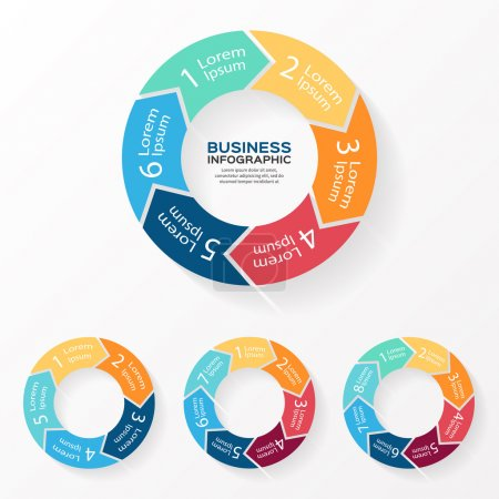 Vector circle arrows infographic. Template for diagram, graph, presentation and chart. Business concept with 5, 6, 7, 8 options, parts, steps or processes. Abstract background.