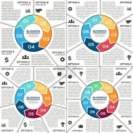 Vector circle infographic. Template for diagram, graph, presentation and chart. Business concept with 5, 6, 7, 8 options, parts, steps or processes. Abstract background.