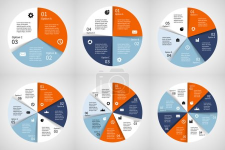 Vector circle infographics set. Template for diagram, graph, presentation and chart. Business concept with 3, 4, 5, 6, 7, 8 options, parts, steps or processes. Abstract background.