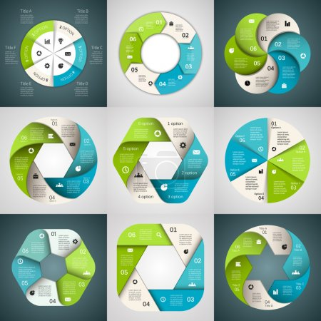 Vector circle arrows ribbons infographics set. Template for diagram, graph, presentation and chart. Business concept with 6 options, parts, steps or processes. Abstract background.