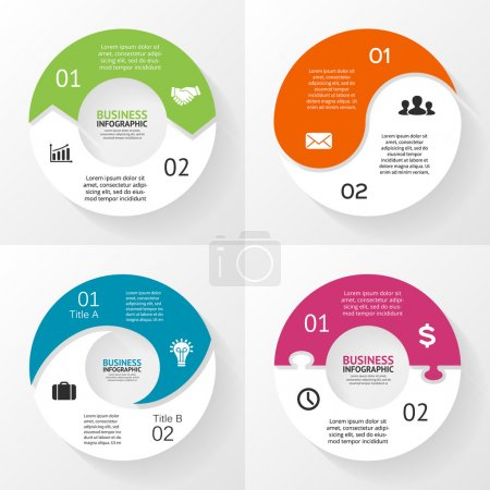 Vector circle infographics set. Template for diagram, graph, presentation and chart. Business concept with 2 options, parts, steps or processes. Abstract background.