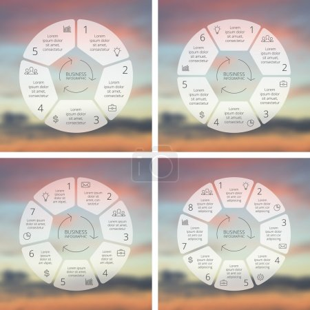 Circle line infographics set. Template for cycle diagram, graph, presentation and round chart. Business concept with 5, 6, 7, 8 options, processes. Linear graphic. Blur vector background.
