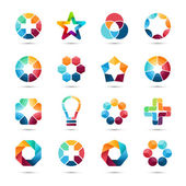 Logo templates set Abstract circle creative symbols Circles plus signs stars triangle hexagons bulb and other design elements