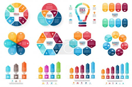 Vector infographic set. Template for cycle diagram, graph, presentation and round chart. Business concept with options, parts, steps or processes. Abstract background.