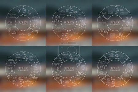 Circle linear arrows infographics set