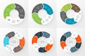 Vector circle arrows infographics set Template for cycle diagram graph presentation and round chart Business concept with 3 4 5 6 7 8 options parts steps or processes Linear graphic