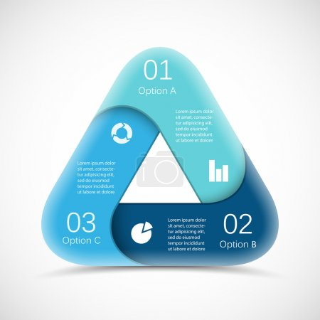 Illustration for Vector circle triangle infographic. Template for diagram, graph, presentation and chart. Business concept with 3 options, parts, steps or processes. Abstract background. - Royalty Free Image