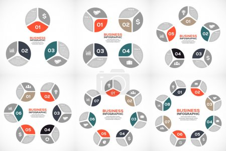 Illustration for Vector circle infographics set Template for cycle diagram, graph, presentation and round chart. Business concept with 3, 4, 5, 6, 7, 8 parts, options, steps or processes. Abstract background. - Royalty Free Image