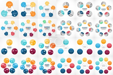 Vector circle arrows infographic. Template for cycle diagram, graph, presentation and round chart. Business concept with 3, 4, 5, 6, 7, 8 options, parts, steps or processes. Big bundle includes 24