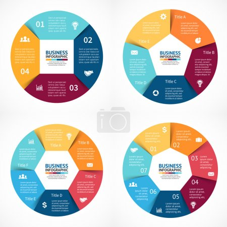 Vector circle infographics set. Template for cycle diagram, graph, presentation and round chart. Business concept with 3, 4, 5, 6  options, parts, steps or processes. Abstract background. Data