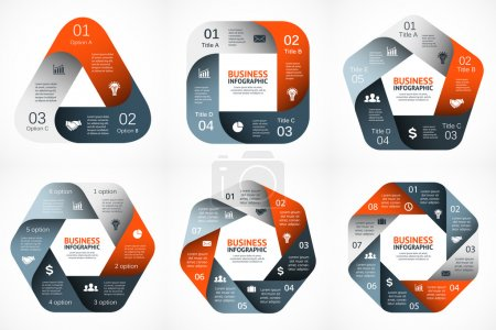 Vector geometric infographic. Template for cycle diagram, graph, presentation and round chart. Business concept with 3, 4, 5, 6, 7, 8 options, parts, steps or processes. Abstract background.