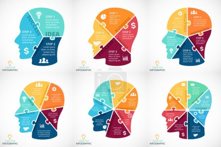 Vector puzzle human face infographic. Cycle brainstorming diagram. Creativity, generating ideas, minds flow, thinking, education info graphic concept. 3, 4, 5, 6, 7, 8 options, parts, steps, processes