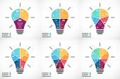 Vector light bulb infographics set Template for circle diagram graph presentation and round chart Business startup idea concept with 3 4 5 6 7 8 options parts steps or processes Successful