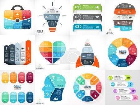 Creative vector arrows teamwork infographics, diagrams, graphs, charts. 3, 4, 5, 6, 7, 8 options, parts, steps. Human head, idea light bulb, heart, plus sign, startup rocket, businessman bag.