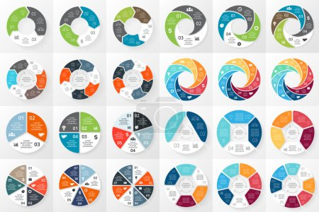 Vector circle arrows infographics bundle. Template for cycle diagram, graph, presentation and round chart. Business concept with 3, 4, 5, 6, 7, 8 options, parts, steps or processes. Abstract