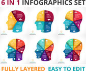 Vector human face infographic Cycle brainstorming head diagram Creativity generating ideas minds flow thinking education info graphic 3 4 5 6 7 8 options parts steps processes