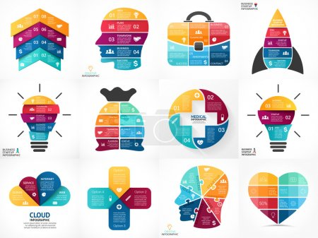 Creative vector arrows infographics, diagrams, graphs, charts. 3, 4, 5, 6, 7, 8 options, parts, steps. Human head, idea light bulb, heart, plus sign, startup rocket, businessman bag, cloud service.