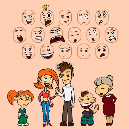 Illustration for Vector funny characters, doodles illustration, facial expressions - Royalty Free Image