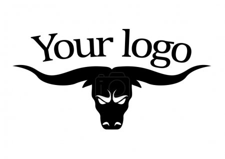 Illustration for Logotype meat, beef, bull with big horns vector logo - Royalty Free Image