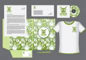 Pets vector corporate identity template design cute animals logo green
