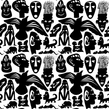 Illustration for African seamless vector pattern, ancient tribal background, black - Royalty Free Image