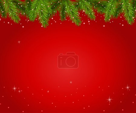 Christmas red background with branches