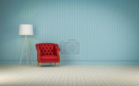 Photo pour Canapé vintage rouge sur le rendu 3d de la chambre - image libre de droit