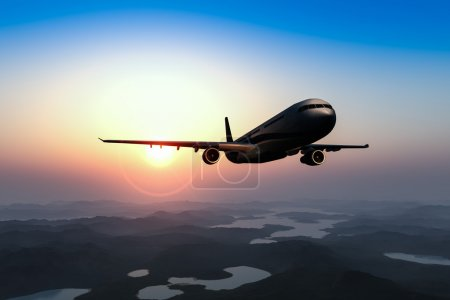 Airplane flying over the city and the beach sunrise 3d rendering