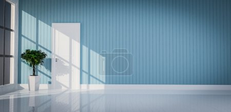 Photo for White door on blue wall room 3d rendering - Royalty Free Image