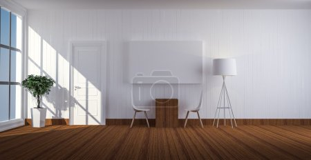 simple living room with white door 3d renderin