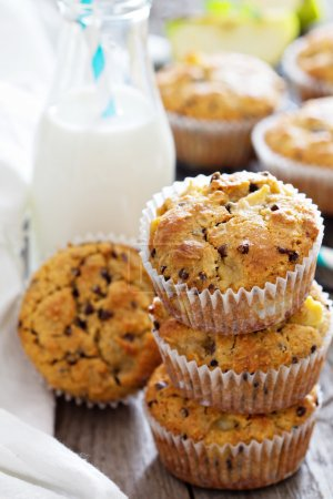 Photo for Gluten free almond and oat muffins with apple and chocolate chips - Royalty Free Image